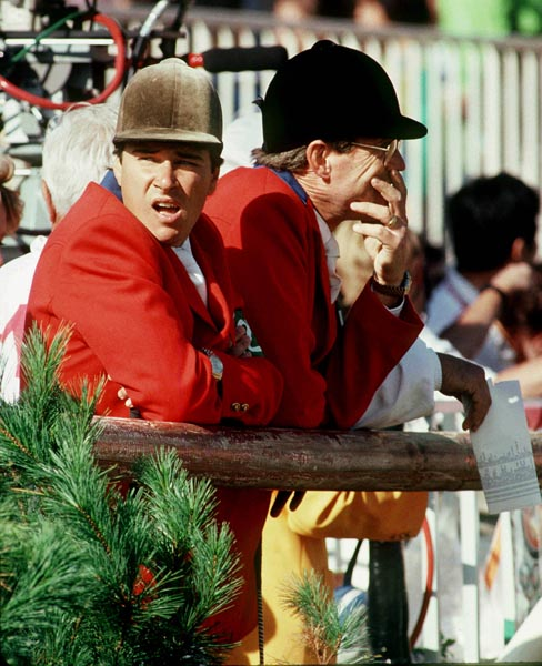 Canada's Mario Deslauriers (left) and Ian Miller keep a watchful eye at the 1988 Olympic games in Seoul. (Photo C. McNeil)